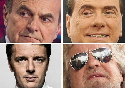 Bersani, Berlusconi, Monti, Grillo